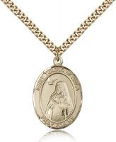 "Gold Filled St. Teresa of Avila Pendant, Stainless Gold Heavy Curb Chain, Large Size Catholic Medal, 1"" x 3/4"""