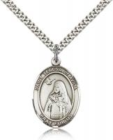 "Sterling Silver St. Teresa of Avila Pendant, Stainless Silver Heavy Curb Chain, Large Size Catholic Medal, 1"" x 3/4"""
