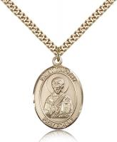 "Gold Filled St. Timothy Pendant, Stainless Gold Heavy Curb Chain, Large Size Catholic Medal, 1"" x 3/4"""
