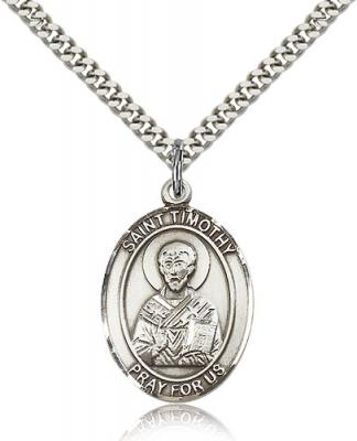"Sterling Silver St. Timothy Pendant, Stainless Silver Heavy Curb Chain, Large Size Catholic Medal, 1"" x 3/4"""