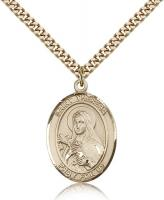 "Gold Filled St. Theresa Pendant, Stainless Gold Heavy Curb Chain, Large Size Catholic Medal, 1"" x 3/4"""
