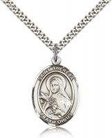 "Sterling Silver St. Theresa Pendant, Stainless Silver Heavy Curb Chain, Large Size Catholic Medal, 1"" x 3/4"""