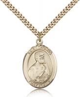 "Gold Filled St. Thomas the Apostle Pendant, Stainless Gold Heavy Curb Chain, Large Size Catholic Medal, 1"" x 3/4"""