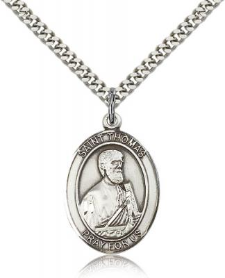 "Sterling Silver St. Thomas the Apostle Pendant, Stainless Silver Heavy Curb Chain, Large Size Catholic Medal, 1"" x 3/4"""