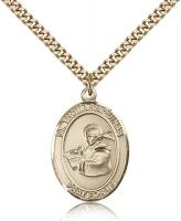 "Gold Filled St. Thomas Aquinas Pendant, Stainless Gold Heavy Curb Chain, Large Size Catholic Medal, 1"" x 3/4"""