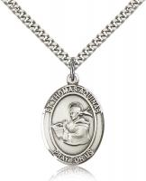 "Sterling Silver St. Thomas Aquinas Pendant, Stainless Silver Heavy Curb Chain, Large Size Catholic Medal, 1"" x 3/4"""