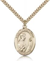 "Gold Filled St. Thomas More Pendant, Stainless Gold Heavy Curb Chain, Large Size Catholic Medal, 1"" x 3/4"""