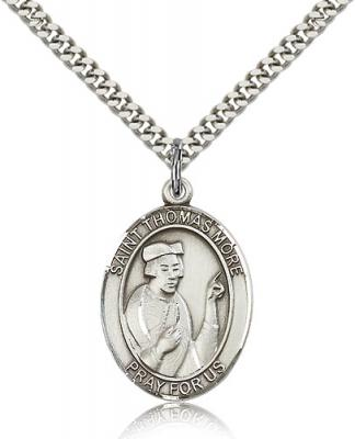 "Sterling Silver St. Thomas More Pendant, Stainless Silver Heavy Curb Chain, Large Size Catholic Medal, 1"" x 3/4"""