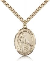 "Gold Filled St. Veronica Pendant, Stainless Gold Heavy Curb Chain, Large Size Catholic Medal, 1"" x 3/4"""