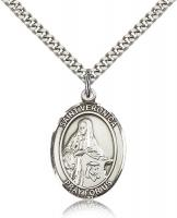 "Sterling Silver St. Veronica Pendant, Stainless Silver Heavy Curb Chain, Large Size Catholic Medal, 1"" x 3/4"""
