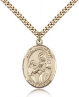 "Gold Filled St. John of God Pendant, Stainless Gold Heavy Curb Chain, Large Size Catholic Medal, 1"" x 3/4"""