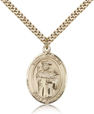 "Gold Filled St. Casimir of Poland Pendant, Stainless Gold Heavy Curb Chain, Large Size Catholic Medal, 1"" x 3/4"""