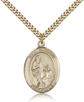 "Gold Filled St. Zachary Pendant, Stainless Gold Heavy Curb Chain, Large Size Catholic Medal, 1"" x 3/4"""