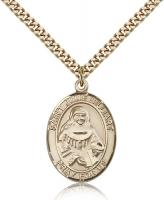 "Gold Filled St. Julie Billiart Pendant, Stainless Gold Heavy Curb Chain, Large Size Catholic Medal, 1"" x 3/4"""