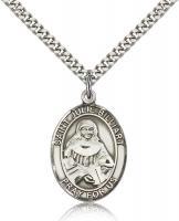 "Sterling Silver St. Julie Billiart Pendant, Stainless Silver Heavy Curb Chain, Large Size Catholic Medal, 1"" x 3/4"""