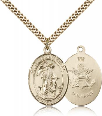 "Gold Filled Guardian Angel Pendant, Stainless Gold Heavy Curb Chain, Large Size Catholic Medal, 1"" x 3/4"""