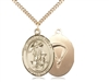 "Gold Filled Guardian Angel/Paratrooper Pendant, SG Heavy Curb Chain, Large Size Catholic Medal, 1"" x 3/4"""