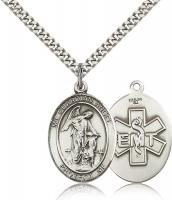 "Sterling Silver Guardian Angel / Emt Pendant, Stainless Silver Heavy Curb Chain, Large Size Catholic Medal, 1"" x 3/4"""