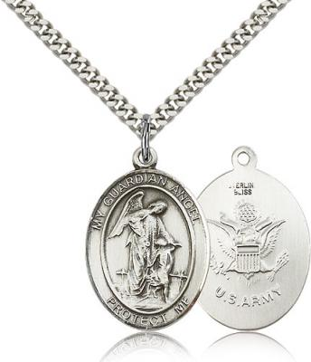 "Sterling Silver Guardian Angel Pendant, Stainless Silver Heavy Curb Chain, Large Size Catholic Medal, 1"" x 3/4"""