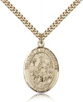 "Gold Filled Lord Is My Shepherd Pendant, Stainless Gold Heavy Curb Chain, Large Size Catholic Medal, 1"" x 3/4"""