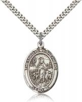 "Sterling Silver Lord Is My Shepherd Pendant, Stainless Silver Heavy Curb Chain, Large Size Catholic Medal, 1"" x 3/4"""