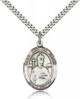 "Sterling Silver St. Leo the Great Pendant, Stainless Silver Heavy Curb Chain, Large Size Catholic Medal, 1"" x 3/4"""