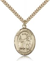"Gold Filled St. Valentine of Rome Pendant, Stainless Gold Heavy Curb Chain, Large Size Catholic Medal, 1"" x 3/4"""
