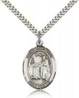 "Sterling Silver St. Valentine of Rome Pendant, Stainless Silver Heavy Curb Chain, Large Size Catholic Medal, 1"" x 3/4"""