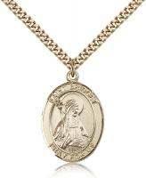 "Gold Filled St. Bridget of Sweden Pendant, Stainless Gold Heavy Curb Chain, Large Size Catholic Medal, 1"" x 3/4"""