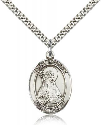 "Sterling Silver St. Bridget of Sweden Pendant, Stainless Silver Heavy Curb Chain, Large Size Catholic Medal, 1"" x 3/4"""