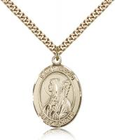 "Gold Filled St. Brigid of Ireland Pendant, Stainless Gold Heavy Curb Chain, Large Size Catholic Medal, 1"" x 3/4"""