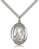"Sterling Silver St. Brigid of Ireland Pendant, Stainless Silver Heavy Curb Chain, Large Size Catholic Medal, 1"" x 3/4"""