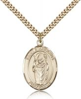 "Gold Filled St. Stanislaus Pendant, Stainless Gold Heavy Curb Chain, Large Size Catholic Medal, 1"" x 3/4"""