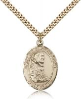 "Gold Filled St. Pio of Pietrelcina Pendant, Stainless Gold Heavy Curb Chain, Large Size Catholic Medal, 1"" x 3/4"""