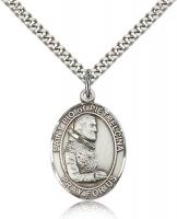 "Sterling Silver St. Pio of Pietrelcina Pendant, Stainless Silver Heavy Curb Chain, Large Size Catholic Medal, 1"" x 3/4"""