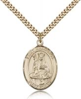 "Gold Filled St. Walburga Pendant, Stainless Gold Heavy Curb Chain, Large Size Catholic Medal, 1"" x 3/4"""