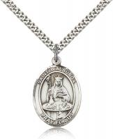 "Sterling Silver St. Walburga Pendant, Stainless Silver Heavy Curb Chain, Large Size Catholic Medal, 1"" x 3/4"""