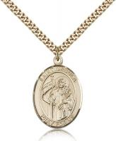 "Gold Filled St. Ursula Pendant, Stainless Gold Heavy Curb Chain, Large Size Catholic Medal, 1"" x 3/4"""