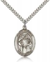 "Sterling Silver St. Ursula Pendant, Stainless Silver Heavy Curb Chain, Large Size Catholic Medal, 1"" x 3/4"""