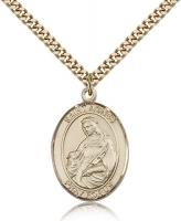 "Gold Filled St. Agnes of Rome Pendant, Stainless Gold Heavy Curb Chain, Large Size Catholic Medal, 1"" x 3/4"""