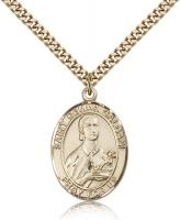 "Gold Filled St. Gemma Galgani Pendant, Stainless Gold Heavy Curb Chain, Large Size Catholic Medal, 1"" x 3/4"""