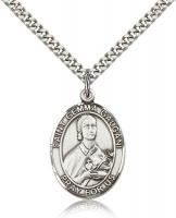 "Sterling Silver St. Gemma Galgani Pendant, Stainless Silver Heavy Curb Chain, Large Size Catholic Medal, 1"" x 3/4"""
