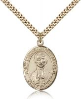 "Gold Filled St. Marcellin Champagnat Pendant, Stainless Gold Heavy Curb Chain, Large Size Catholic Medal, 1"" x 3/4"""