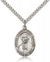 "Sterling Silver St. Marcellin Champagnat Pendant, Stainless Silver Heavy Curb Chain, Large Size Catholic Medal, 1"" x 3/4"""