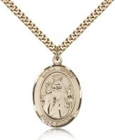 "Gold Filled Maria Stein Pendant, Stainless Gold Heavy Curb Chain, Large Size Catholic Medal, 1"" x 3/4"""