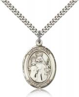 "Sterling Silver Maria Stein Pendant, Stainless Silver Heavy Curb Chain, Large Size Catholic Medal, 1"" x 3/4"""