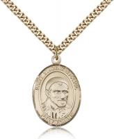 "Gold Filled St. Vincent de Paul Pendant, Stainless Gold Heavy Curb Chain, Large Size Catholic Medal, 1"" x 3/4"""