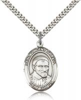 "Sterling Silver St. Vincent de Paul Pendant, Stainless Silver Heavy Curb Chain, Large Size Catholic Medal, 1"" x 3/4"""
