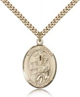 "Gold Filled St. Jerome Pendant, Stainless Gold Heavy Curb Chain, Large Size Catholic Medal, 1"" x 3/4"""