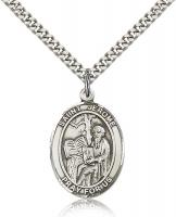 "Sterling Silver St. Jerome Pendant, Stainless Silver Heavy Curb Chain, Large Size Catholic Medal, 1"" x 3/4"""